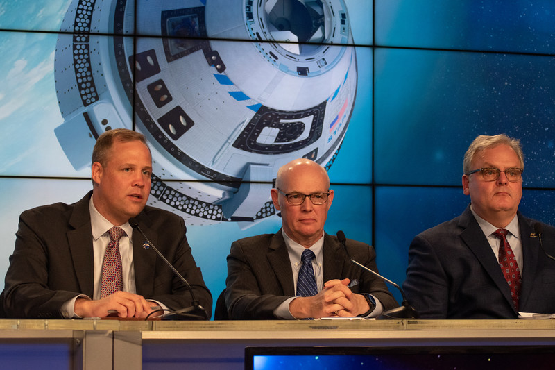 Jim Bridenstine, Tory Bruno, and Jim Chilton following Starliner anomaly