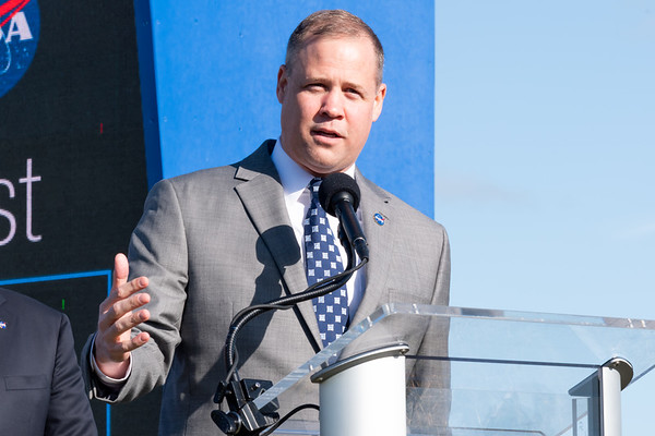 NASA Administrator Jim Bridenstine speaks ahead of the Orbital Flight Test