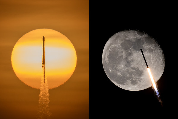 Two transits: the Sun and the Moon