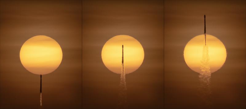 Falcon 9 piercing the Sun
