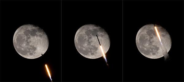 Starlink 24 Falcon 9 Meets the Moon