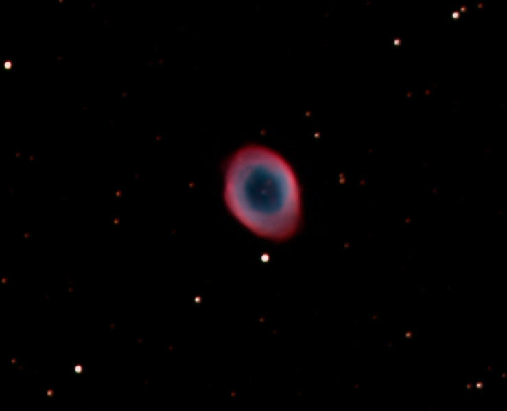 "Date Taken: 8/30/2010  <br /> Equipment: 12.5"" PlaneWave Telescope with SBIG ST 10XME camera;  <br /> Exposures: LRGB-20 min each.  Processing: MaximDL and Photoshop<br /> <br /> The ""Ring Nebula"" is located in the northern constellation of Lyra, and also catalogued as Messier 57, M57 or NGC 6720. It is one of the most prominent examples of the deep-sky objects called planetary nebulae.  It is approximately 2,300 light years away."