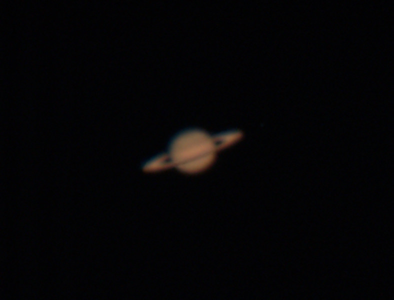 "Date Taken: 5/8/2011  <br /> Equipment: 12.5"" PlaneWave Telescope with Imaging Source Color Video camera;  <br /> Exposures: Shot several videos at between 7 adn 15 frames/second.  Processing: Used Registax to select and combine the best frames and Photoshop to finish.<br /> <br /> First shot at Saturn with a new video camera:  A stacked group of images on a ""bad"" seeing night. More to come on this wonderful object once seeing in the NE gets better."