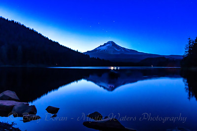 Mt Hood at Trillium Lake with stars