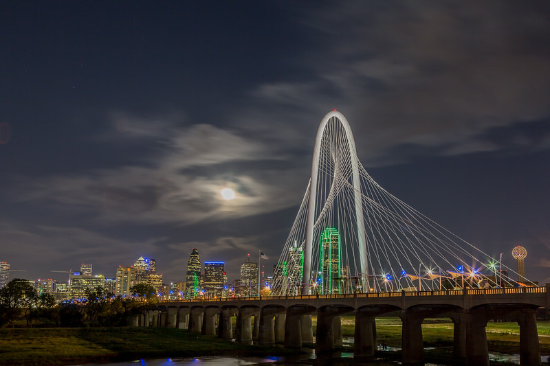 Supermoon over the Dallas Skyline