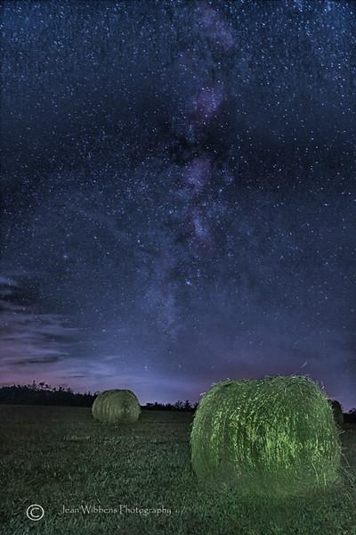Hay Bales under the Milky Way