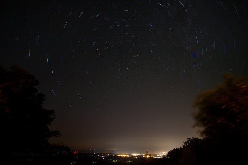 Star trails in the night sky over State College, PA.