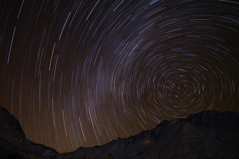 Star trails over the mountains in Guadalupe Mountains National Park, TX.
