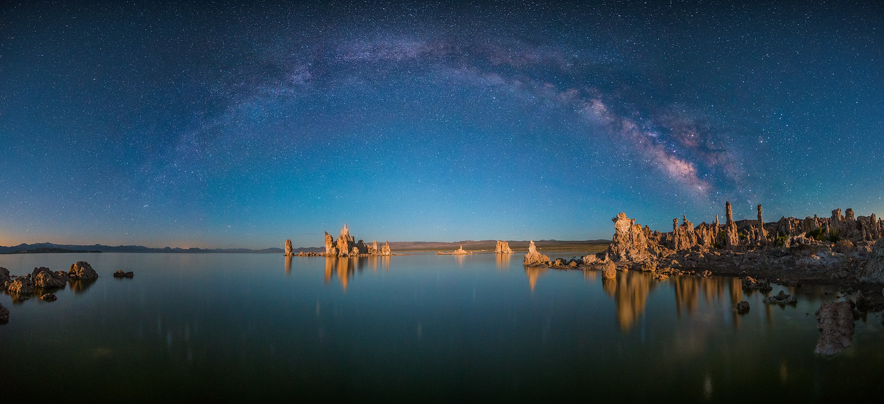 Mono Lake Milkyway Pano with Moonlight