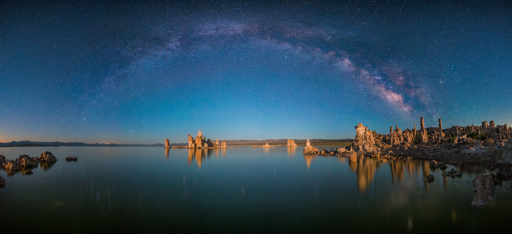 Mono Lake Milkyway Pano with Moonlight