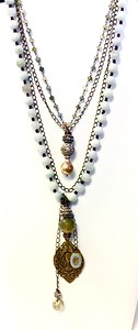 7-4-RM165-J CO145  COMMUNION MEDAL WITH CLOUDY QUARTZ AND RHINESTONES ON BURMESE JADE, HAND KNOTTED,WITH BAROQUE PEARL AND MOSS AQUAMARINE ROSARY CHAIN AND BLACK CHAIN.  PART OF OUR NEW BOHO LINE 17+2""