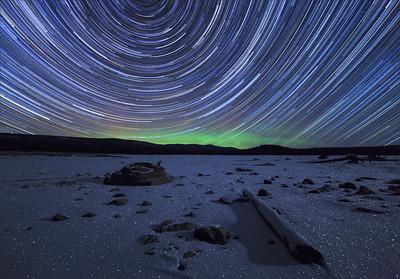 Ellis Reservoir Winter Auroral Startrail
