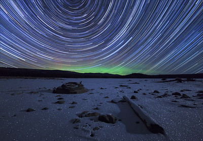 Ellis Reservoir Winter Auroral Startrail