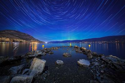 Okanagan Lake Auroral Startrail