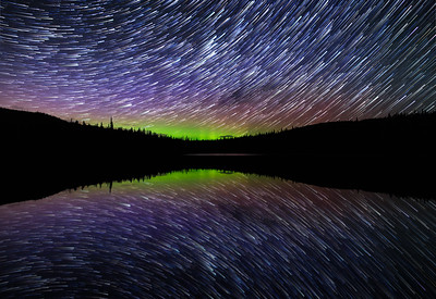 Clarke Lake Auroral Startrail Mirror
