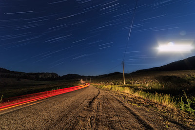 White Lake Southern Startrail Moonlit