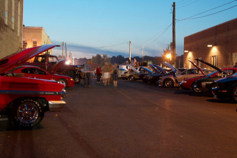 At the car show in the evening, Utica, IL.