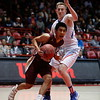 Hot Springs's Pino Luna, number 30, covers Santa Fe Indian's Jaden Aguino, number 23, during the first quarter of the Santa Fe Indian School vs Hot Springs High School state final game at The Pit on Saturday, March 16, 2019. Luis Sánchez Saturno/The New Mexican