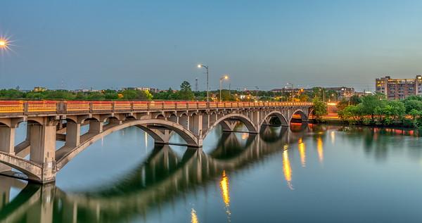 Early morning traffic crossing the Lamar Bridge to downtown Austin