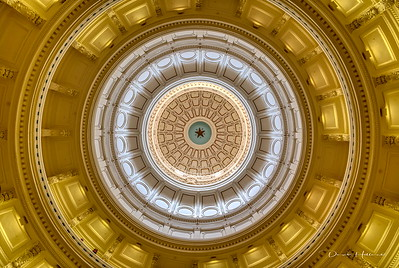 Interior of the dome of the Texas State Capitol, shot straight up from the center of the rotunda floor