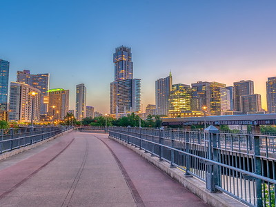 Early morning view of the Austin Skyline via the James D. Pfluger Pedestrian and Bicycle Bridge