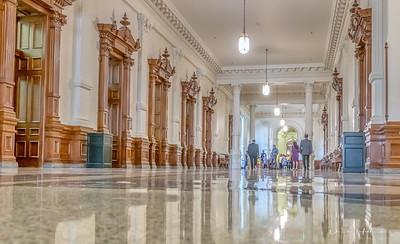 The corridors of the Texas Capitol bldg