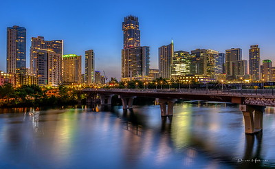 Pre-dawn Austin skyline from the Lamar St Bridge