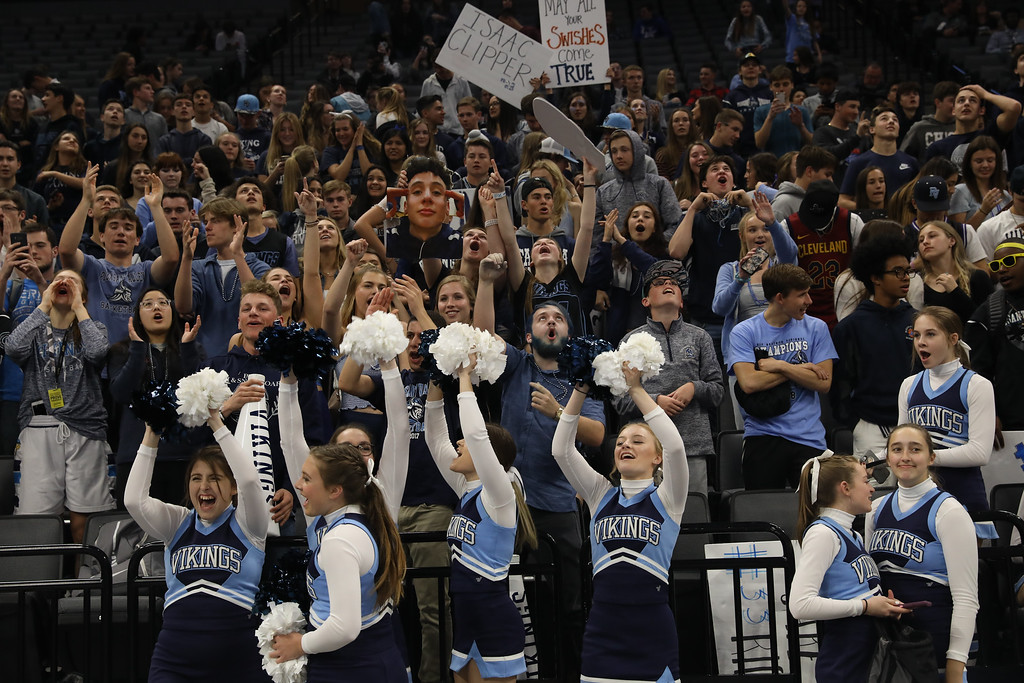. Pleasant Valley High students go crazy as the boys win the state championship titles at Golden 1 Center, March 24, 2018, in Sacramento, California. (Carin Dorghalli -- Enterprise-Record)