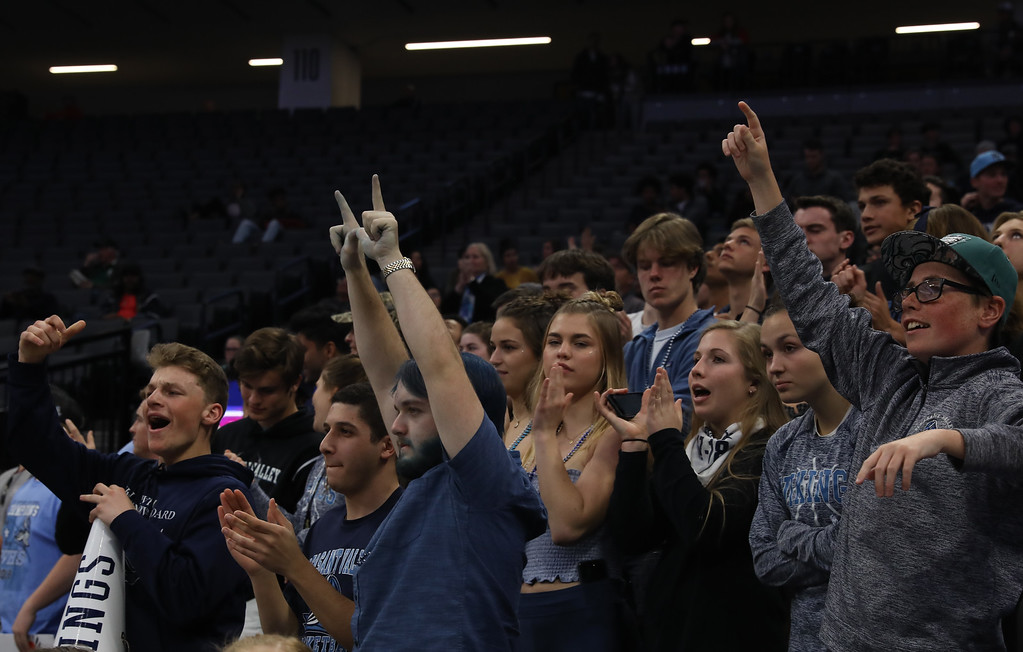 . Pleasant Valley High students go crazy during the state championship games at Golden 1 Center, March 24, 2018, in Sacramento, California. (Carin Dorghalli -- Enterprise-Record)