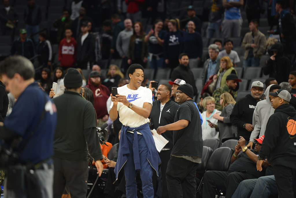. Scottie Pippen makes an appearance to cheer on his son, who played on the winning Division 1 team at Golden 1 Center, March 24, 2018, in Sacramento, California. (Carin Dorghalli -- Enterprise-Record)