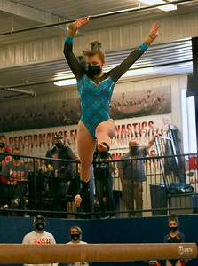 River Valley/Barneveld junior Lorisa Shatrawka performs a leap on the balance beam at the WIAA Division 2 state meet on Saturday in LaCrosse. Shatrawka won the event with a 9.2. Photo by Jason McMahon