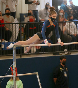 Dodgeville/Mineral Point/Iowa-Grant freshman Brooklyn Murphy competes on the uneven bars at the WIAA Division 2 state meet on Saturday in LaCrosse. Murphy scored an 8.375 to finish 14th. Photo by Jason McMahon