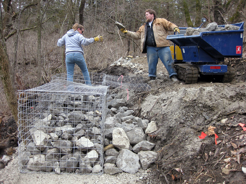 Kanas: Building a rock gabion wall
