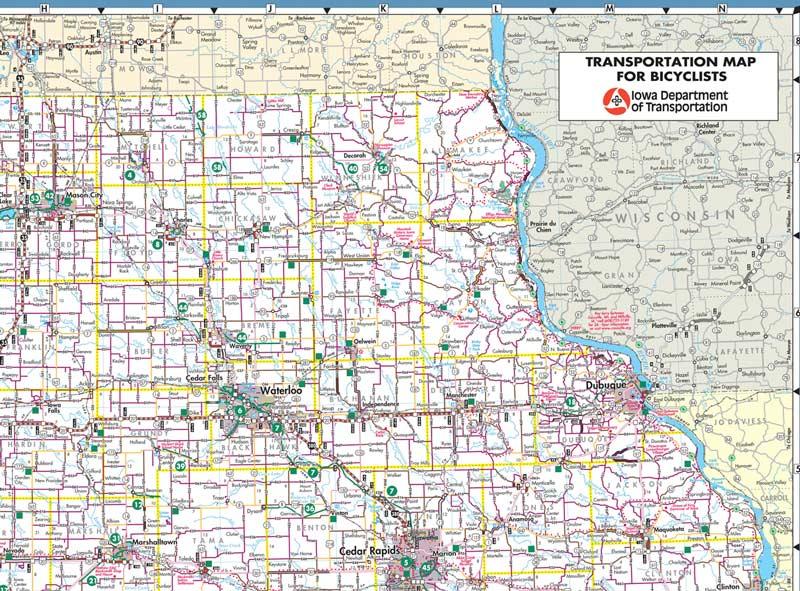 Iowa:  Transportation Map for Bicyclists