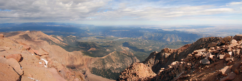A view from the top of Pikes Peak at 14,110 feet above sea level.<br /> <br /> This view was recreated by stitching 4 images together in PS CS3.