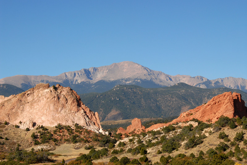Another view of Pikes Peak as seen frm the Garden of the Gods Visitors Center.