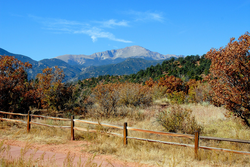 One of my favorite views of Pike's Peak from the trail near the south end of the trail loop.