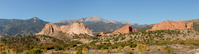 This panorama was made by reassembling the scene from multiple images using Photoshop CS3's Photomerge tool.  Taken from the Garden of the Gods visitor's center.