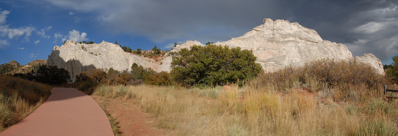 A panorama created using 3 images of the white rocks.