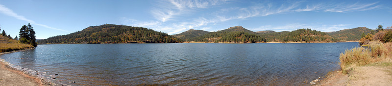 This is Lake Maloya in Sugarite Canyon State Park in New Mexico at the state line with Colorado near Raton, New Mexico.  <br /> <br /> This image is nearly a 180 degree view and consists of 5 separate images stitched tdogether in Photoshop CS3.