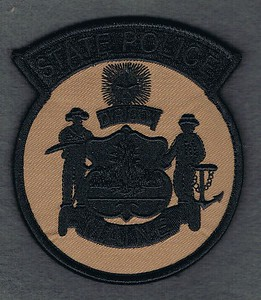 MAINE STATE POLICE TAN AND BLACK VELCRO