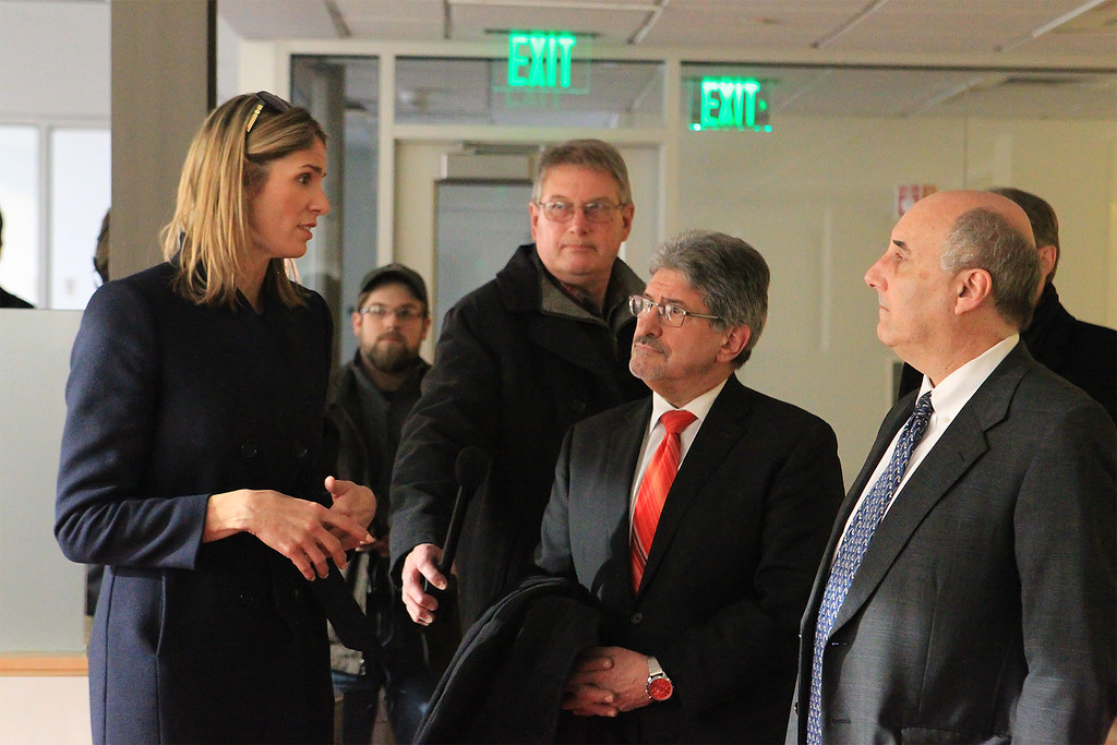 . House Rep Lori Trahan talks with Mayor Stephen DiNatale and Fitchburg University President Richard Lapidus inside the Idea Lab next to the Theatre SENTINEL&ENTERPRISE/Scott LaPrade