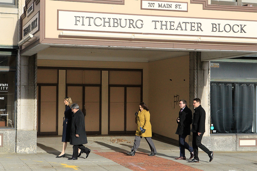 . Mayor Stephen DiNatale walks with House Rep Lori Trahan in front of the Theater Block SENTINEL&ENTERPRISE/Scott LaPrade