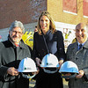 House Rep Lori Trahan and Mayor Stephen DiNatale  and FSU President Richard Lapidus with there personalized hardhats before entering the BF Brown School building<br /> SENTINEL&ENTERPRISE/Scott LaPrade
