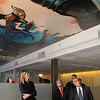 Mayor Stephen DiNatale walks with House Rep Lori Trahan with Fitchburg State University President Richard Lapidus look over the painted ceiling in the Idea Center's 2nd floor done by students<br /> SENTINEL&ENTERPRISE/Scott LaPrade<br /> SENTINEL&ENTERPRISE/Scott LaPrade