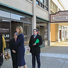 House Rep Lori Trahan and Mayor Stephen DiNatale  leaving the Idea Lab<br /> SENTINEL&ENTERPRISE/Scott LaPrade