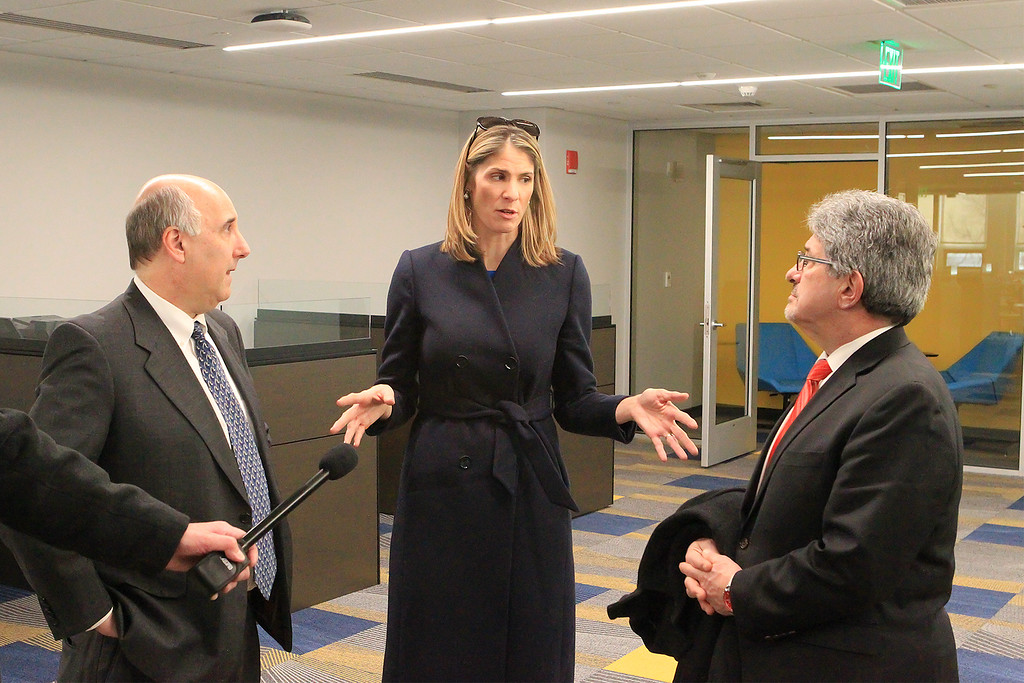 . House Rep Lori Trahan talks to Mayor Stephen DiNatale as FSU President Richard Lapidus looks on SENTINEL&ENTERPRISE/Scott LaPrade