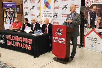 WAHS Head Principal Dr. Brandon Pardoe welcomes those in attendance to the announcement event.