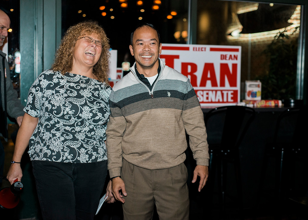 . Dean Tran, along with campaign manager Gwen Meunier, thanks his supporters at River Styx Brewing on Tuesday, December 5, 2017 after winning the special election. The special election was to fill the Worcester-Middlesex state Senate seat vacated by Jennifer Flanagan. SENTINEL & ENTERPRISE / Ashley Green