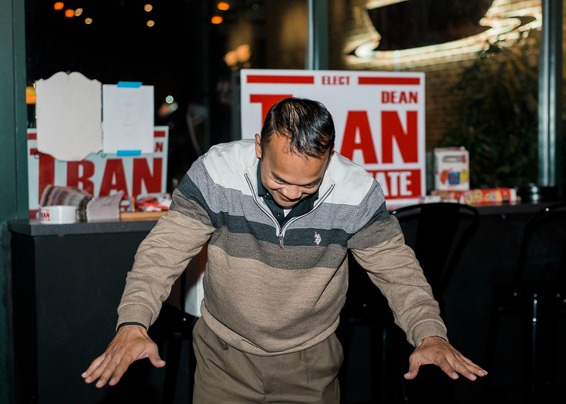 Dean Tran bows down to his supporters while arriving at River Styx Brewing on Tuesday, December 5, 2017 after winning the special election. The special election was to fill the Worcester-Middlesex state Senate seat vacated by Jennifer Flanagan. SENTINEL & ENTERPRISE / Ashley Green